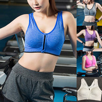Hot Sell New Sexy Womens Ladies Front Zip Sports Bra Wire Fr...