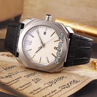 Caso de aço barato New Octo 41 milímetros 102207 BGO41WSLD Branco Dial Swiss Quartz Mens Watch Couro Branco Gents Desporto Relógios Pure_time 12Color