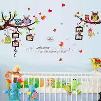 Cartoon Tiere Kinder Wandaufkleber Niedliche Eulen Vögel Baum Schöne Herz mit 5 Bilderrahmen Aufkleber Für Baby Geburtstag Kinderzimmer Dekoration