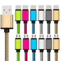 مضفر نايلون كابل usb 1 متر 2 متر 3 متر نوع C مايكرو USB البيانات شحن الكابلات لسامسونج S6 S7 حافة S8 بلاك بيري
