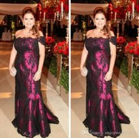 Elegant von der Schulter schwarze Spitze Mutter der Braut Kleider Mermaid Lange Abend Party Kleider Hochzeit Gäste Kleid Plus Größe Mutter Kleid
