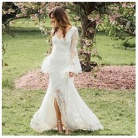 2019 Split Country Wedding Dresses Mermaid V Neck Full Lace ...
