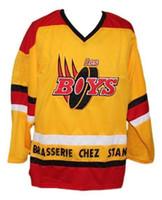 Les Boys Filme '' Brasserie Chez Stan '' Amarelo Retro Ice Hockey Jersey Masculino Costume Número Personalizado Nome Nome Jerseys