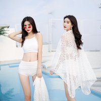 2019 المايوه المرأة سبليت شقة الزاوية ثلاثة قطعة مثير ربيع حار ملابس السباحة مجموعة ملابس السباحة مجموعة بالجملة