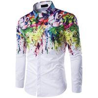 جديد ماركة أزياء فاخرة مصمم رجل زر يصل اللباس قمصان الحبر الطلاء طباعة القمصان