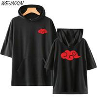 Sıcak Satış Anime T Shirt Naruto Akatsuki Bulut Rozeti Baskı Kapüşonlu Tişört Uchiha Itachi Hip Hop Kostüm Tops Tees Unisex Giyim Y19060601