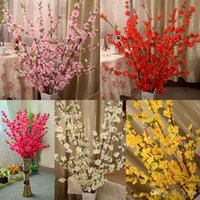 160pcs Искусственный Вишневый весна сливы Peach Blossom Branch Шелковый цветок дерево для свадьбы украшения белый красный желтый розовый
