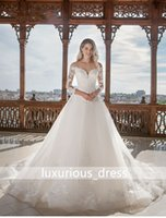 Appliques A-Line Wedding Dress 2019 Nuovo Sweetheart al largo della spalla Lace Up Vintage Abito da sposa Vestido de Novia