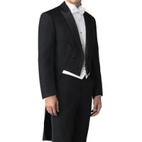 Tailor Made Wedding Man Tail Coat para Novio Trajes de doble botonadura, 3 piezas, conjunto Chaqueta negra Pantalones Chaleco blanco para fiesta de graduación para hombre