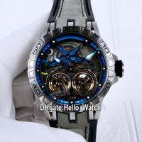 NOUVEAU EXCALIBUR 46 PVD RDDBEX0481 Double Tourbillon Automatique Mens Montre Noir Cadran Bleu Case Inner Steel Gris Montres Beathre Hello_Watch