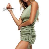 SVOKOR Ärmel Kordelzug Rüschenkleid Frauen-Sommer-Strickfigurbetontes Kleid Sexy Mini-Nachtclub-Kleidung-Paket-Hüfte Schlank