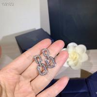 Gioielli S925 di cristallo Sterling Silver completa Diamon link Piazza fascino orecchini di goccia per le donne all'ingrosso Classic Designer