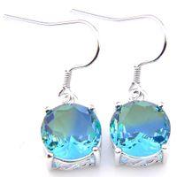 Luckyshine Elegant Delicate Round Bi Colored Tourmaline Gemstone 925 sterling silver Dangle Earrings jewelry For Women 1' inch Free shippin