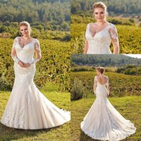 2019 Plus Size Wedding Dresses Mermaid V Neck Lace Applique ...