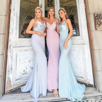 Baratos longos damas de honra vestidos Western Country verão jardim praia casamentos bainha espaguete cintas pregas longos vestidos de noite BM0605