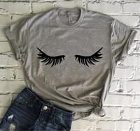 OKOUFEN Cils T-shirt Cils Tumblr Pour Dame Top Imprimer T-shirt Nouvelle Mode Mignon À Manches Courtes Femme Femme Top Tee Drop Ship