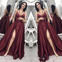 Robes de soirée grande taille avec poche 2019 Longue encolure en V A-ligne fendue côté dos sexy Grande robe de bal taille robe de demoiselle d'honneur robe BC0797
