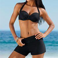 9f4b06e508c0b New Arrival. 2019 New Swimsuit Push Up Solid Bikini High Waist Swimwear  Women Swimming Suit Bikinis Set Ladies Beach ...
