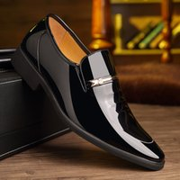 Men Casual Shoes Patent Leather Fashion Inner Elevator Briti...