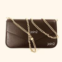 Pochette Felicie, Moda de alta calidad Moda Moda Cadena de Cadena Cross Cross Body Bolsa de embrague Bolso de hombro en lienzo marrón Bolsillo de bolsillo