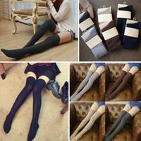 1 par para mujeres medias de invierno caliente de alta del muslo sobre la rodilla calcetines largos de algodón medias polainas rayadas color sólido medias