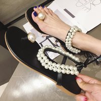 Women's Sandals 2020 Summer Hot Women Pearl Sandals Female Rhinestone Thong Shoes Lace Ce Women Flat Beach Shoes