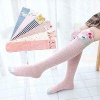 Çocuklar Diz Yüksek Çorap Kız Karikatür çorap Çocuk Pamuk Çizgili Nefes Uzun Çorap Bebek Casual Tayt Prenses Bacak Isıtıcı BYP781