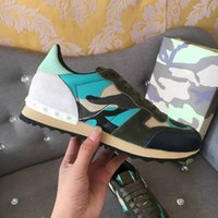 Высокое качество нового способа Камуфляж Пары обувь Mens женщин кожа Спайк Заклепки Повседневная обувь Кроссовки Дешевые кроссовки