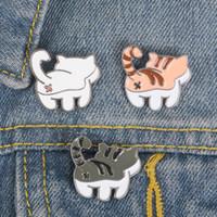かわいい猫エナメルピン漫画ホワイトグレーオレンジ動物ラペルブローチテールテールタイルテッドアスバッジ背面ビュージュエリーギフト女の子の贈り物