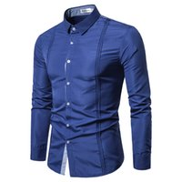 Casual Shirts Hommes 2019 Couture De Couture Denim À Manches Longues Robe Chemise Poitrine Fold Daily Business Social Camisas