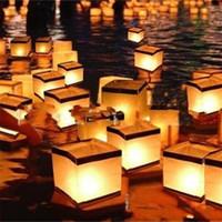 Linternas de papel manual de bricolaje Linterna de agua flotante para fiesta de cumpleaños Festival de casas de boda Decoración con vela 1 5hy yy