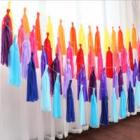 5 ark / parti 35cm Färgglada Tissue Paper Tassels Garland Banner Ballonger Ribbon Barn Födelsedagsfest Henparty Decor Bröllopsinredning