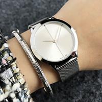 패션 여성 남성 남여 연인의 철강 금속 밴드 쿼츠 손목 시계