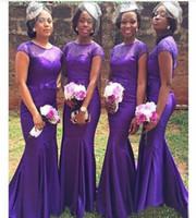 2020 maniche corte damigella d'onore viola a buon mercato lungo africano abiti da sirena con in rilievo Dress For Wedding Party vestido dama de honor