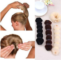 Nylon Hot Buns Button Hair Bun Maker Rubber Band Black Brown...