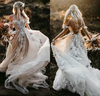 2020 Bohemian Wedding Dresses Off The Shoulder Lace 3D Flora...
