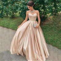 Baratos Prom Vestidos longos 2020 querida mangas elegante da festa vestidos de noite Custom Made Formal Wear barato