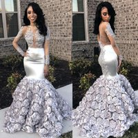 Sliver Mermaid Prom Dresses Sexy See Through Long Sleeves Fo...