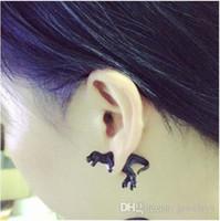 Bonito 3D Dinossauro Ear Stud Brinco Declaração Tyrannosaurus Ear Cuff Studs Brincos 3D Animal Ear Jóias para Homem e Mulheres