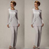 Elegant Plus Size Silver Calças terno para mãe do noivo noivo frisado chiffon festa de casamento festa vestidos de noite