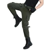 Рыцарь нескольких Карманный Грузовой Брюки Zipper камуфляжные штаны Army Green на открытом воздухе форменные Мужчины Военный Кемпинг Длинные брюки