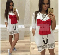 2019 Estate Cartoon Lettera Carattere Stampa Red Bow Dress Casual O-Collo manica corta Abiti Vestidos Moda allentato Donne Dress Plus # 9030