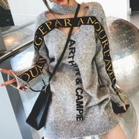 Ambos os lados Sweater Dress Autumn Rodada Grey Neck oco Carta pulôver feminina outono e Seção Longo Inverno