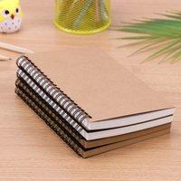 Creativo simple del papel de Kraft de los materiales Doble bobina anular el cuaderno espiral cuaderno de bocetos del diario para Dibujo Pintura papel de la libreta