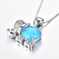 Schöne Regenbogen Feueropal Elefant Anhänger 925 Silber Überzogene Blaue Opale Halsketten Für Mode Frauen Kristall Hochzeit