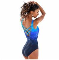 Badeanzug, Einteiler, Damen, Vintage, Badebekleidung mit Farbverlauf, Criss Cross-Rücken, Monokini-Badeanzug, Strandkleidung, Maillot De Bain
