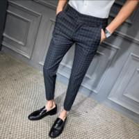 Pantalons robe coréenne Mode homme Plaid Casual Stripe Slim Fit Bureau Pantalon Pantalon classique Retro Plaid costume pantalon mariage