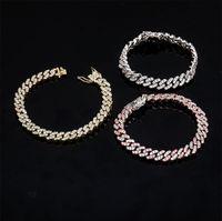 Женский CZ Miami Cuban Link Bracete Braints Bracte Bracte 8MM Bling Braclets с заблокированным застежкой Cubic Zircon Bracelets 7inch 8inch