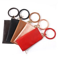 Fashion Leopard Print Keychain For Women Girls PU Leather O Keychain Wristlet Bag Solid color Round Key Ring