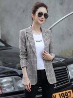 Vintage Plaid Women Blazer Pockets Jackets Female Retro Suit...